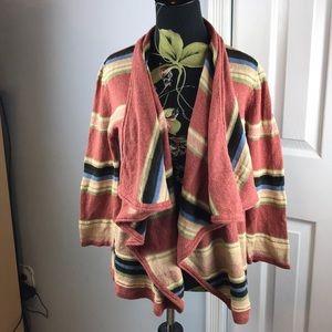Chaps Denim women multi color stripes sz XL open